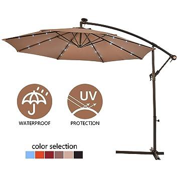 COSTWAY 3M Outdoor LED Parasol Patio Solar Sun Shade Banana Cantilever  Hanging Umbrella (Tan)