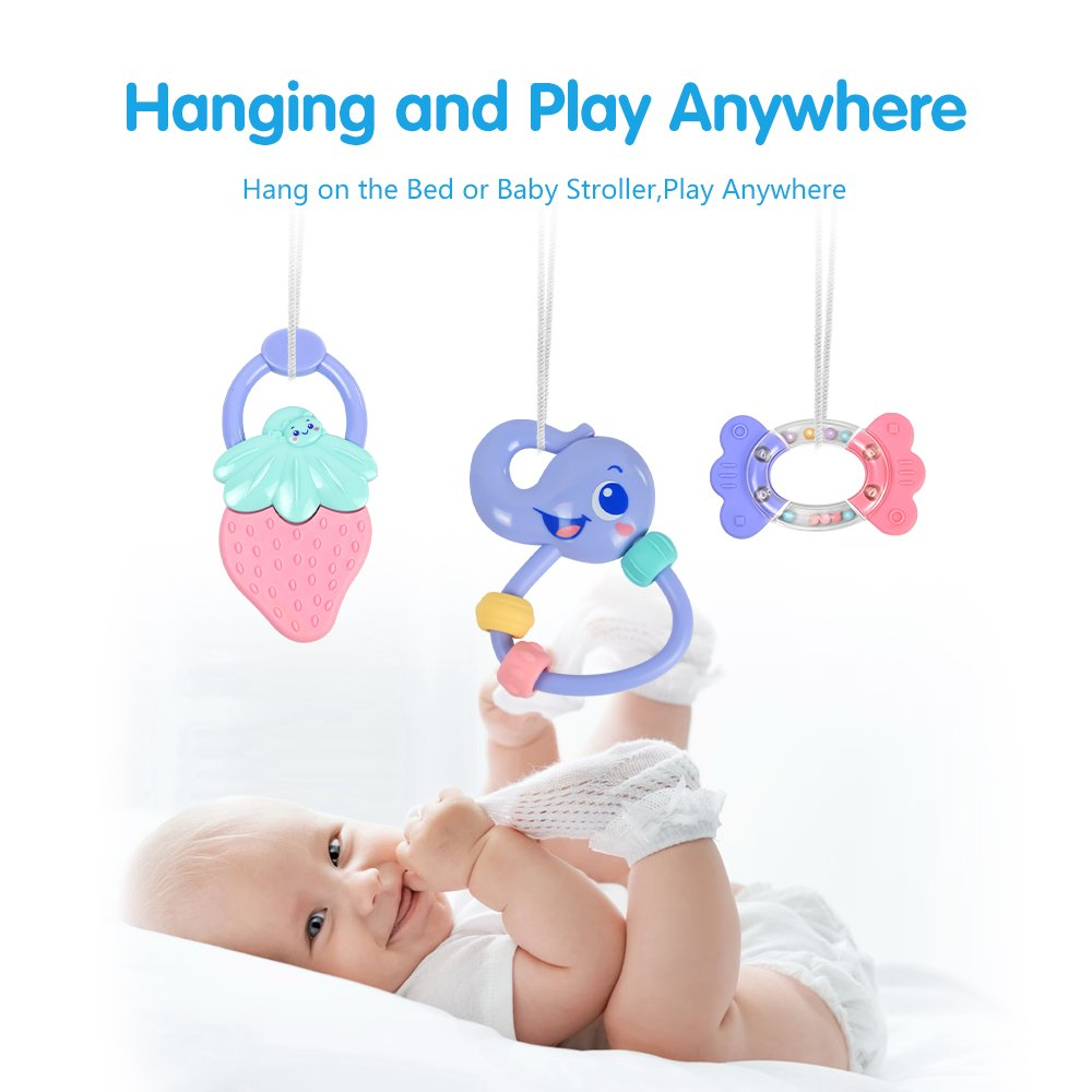tumama Baby Rattles and Toys Gift Set Hand Jingle Shaking Bell Infant Newborn Teething Toys with Suitcase Pack of 8