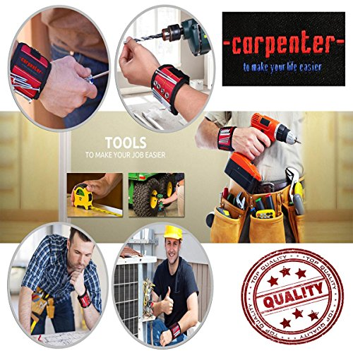 Carpenter Magnetic Wristband For Holding Tools - Magnetic Tool Holder - With Powerful Magnets Holder Construction tools holding for screws nails best gifts for men man dad husband workers woodworker by Carpenter (Image #5)