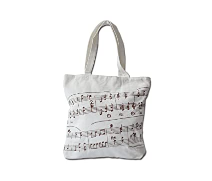 Music Symbols Print Canvas Tote - Simple Loving Music Symbols Print Canvas  Tote Handbag Shoulder Shopping Bags Gift (White-MG-348)