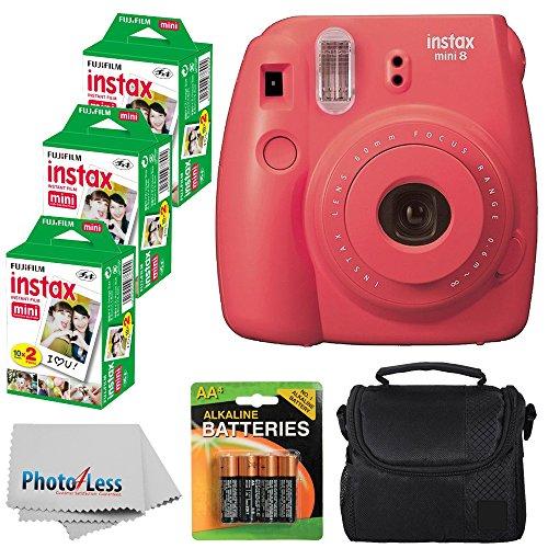 Fujifilm Instax Mini 8 Instant Film Camera (Raspberry) With Fujifilm Instax Mini 6 Pack Instant Film (60 Shots) +...