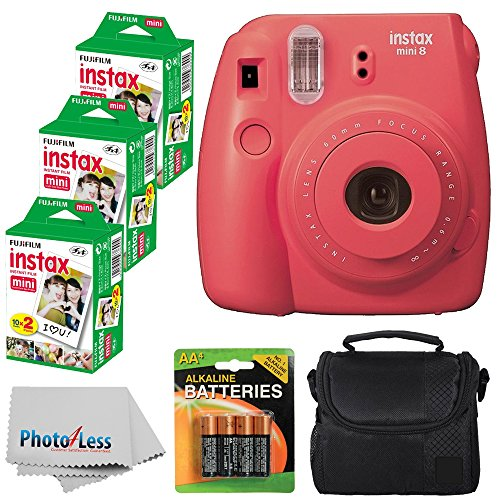 Fujifilm Instax Mini 8 Instant Film Camera (Raspberry) With Fujifilm Instax Mini 6 Pack Instant Film (60 Shots) + Compact Bag Case + Batteries Top Kit - International Version (No Warranty) by Fujifilm