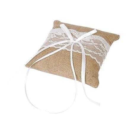 VORCOOL - Cojín para anillos de boda, con cinta de raso, de ...