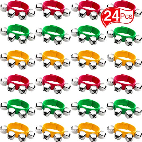 Band Wrist Bells Bracelets Jingle Musical Ankle Bells Rhythm Instrument Percussion Party Favors for Christmas School Children (24 Pieces, Red, Green and Gold)
