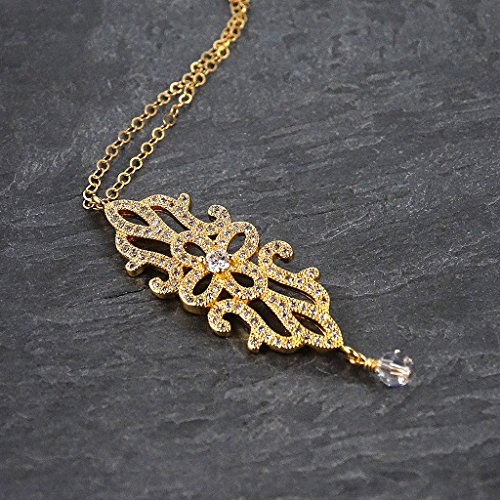 Art Pendant Gold Deco (Crystal Gold Filled Art Deco Statement Pendant Necklace)