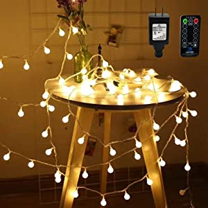 Globe String Lights,49ft 100 LED Warm White Waterproof Decorative Fairy String Lights for Indoor and Outdoor Use with RF Wireless Remote Controller Outdoor,29V Low Voltage Transformer,Extendable