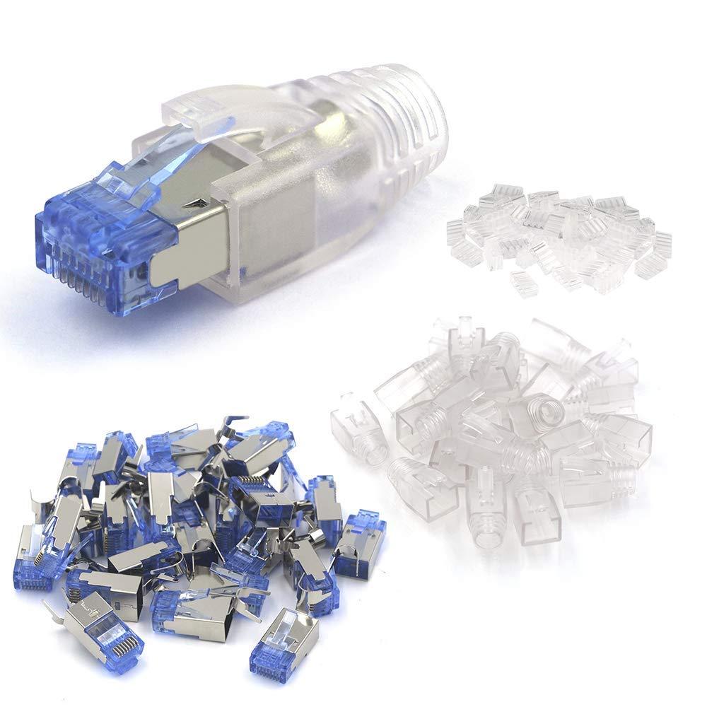 VCE Lot de 25 RJ45 Cat7 Cat6A Cat6 Nickel blind/é Modular Plug Connecteur avec Capuchon de C/âble Cat7//Cat6A//Cat6 Ethernet RJ45 Strain Relief Bottes