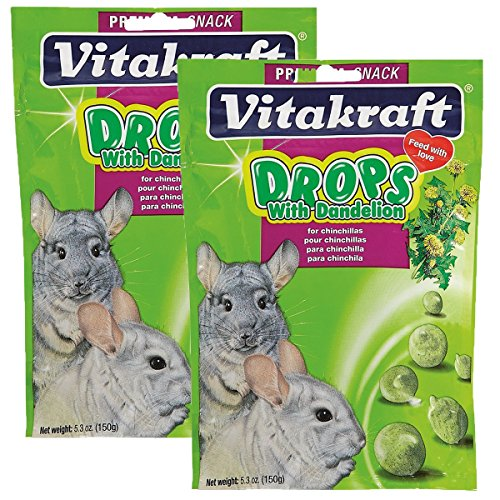 Vitakraft Chinchilla Drops with Dandelion Treat, 5.3 Ounce Pouch, 2-Pack