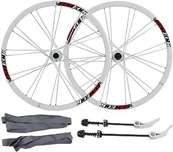 MZPWJD Juego Ruedas Bicicleta Montaña 26 Pulgadas Ruedas Bicicleta MTB Aleación Aluminio Llanta Doble Pared Freno Disco Rodamientos Sellados 7 8 9 10 Velocidad (Color : White, Size : 26inch): Amazon.es: Deportes y aire libre