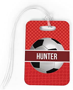 Amazon.com: Fútbol y bolsa etiqueta equipaje | nombre ...