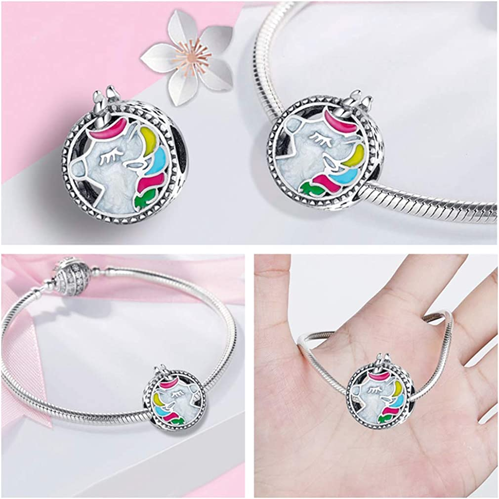LeeFeel Heart Footprints Animals Charms Exquisite Imitation Sterling Silver Pink Ladybug Dog Cat Family Forever Beads Charms for Women Bracelets Charm DIY