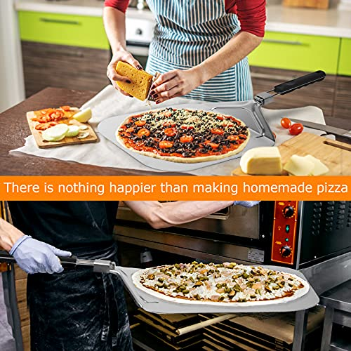Large Pizza Peel 16 inch, Chef Large Pizza Paddle Stainless Steel With Folding Handle for Indoor Outdoor Pizza Oven.