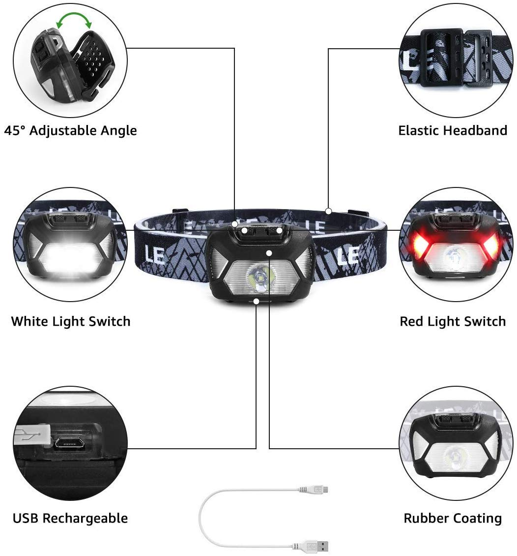 Battery and USB Cable Included Perfect for Adults and Kids Running Hiking and More Super Bright LED Headlamp Flashlights Camping Rechargeable Headlights with 6 Modes Lightweight and Comfortable
