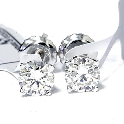 c9ff13a3617 Amazon.com: IGI Certified 3/4 Carat Round Diamond Studs 14K White ...