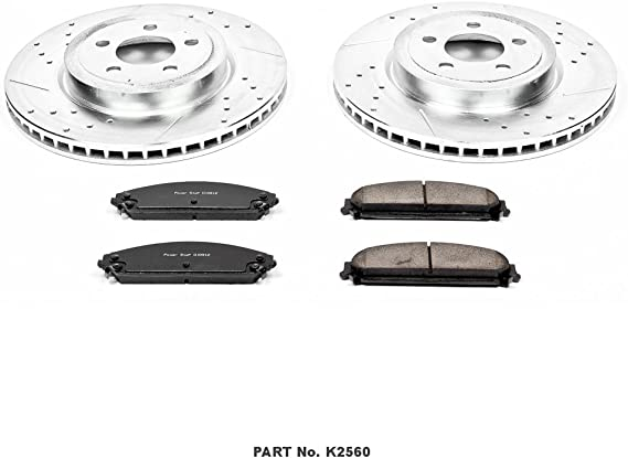 Power Stop K2156 Front Ceramic Brake Pad and Cross Drilled//Slotted Combo Rotor One-Click Brake Kit
