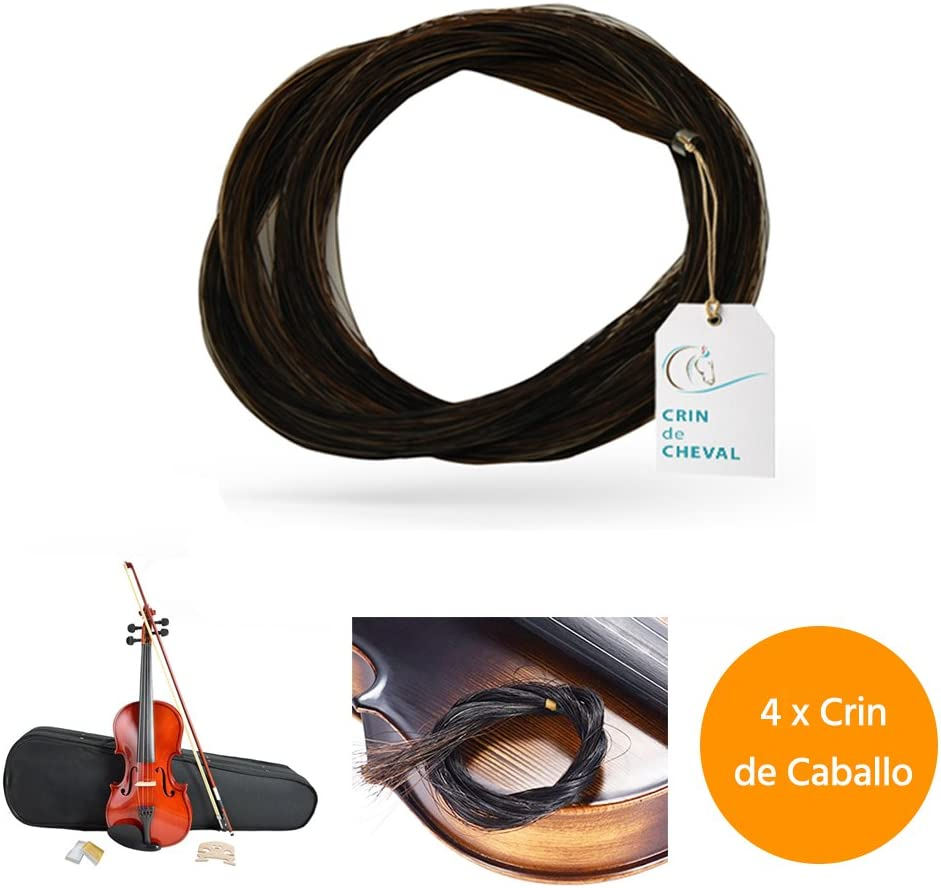 Crin De Caballo - Quatro madeja pelo de caballo para violín arco u otro uso - Calidad AAA - Procedencia Mongolia - 40 gramos - 81-82 cm - Negro