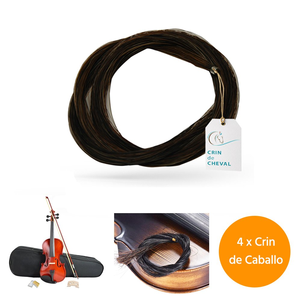 Quattro matassine di crine per arco di violino o altro uso - Qualità AAA - Origine mongola - 40 grammi - 77-78 cm - Bianco cavallo cheval
