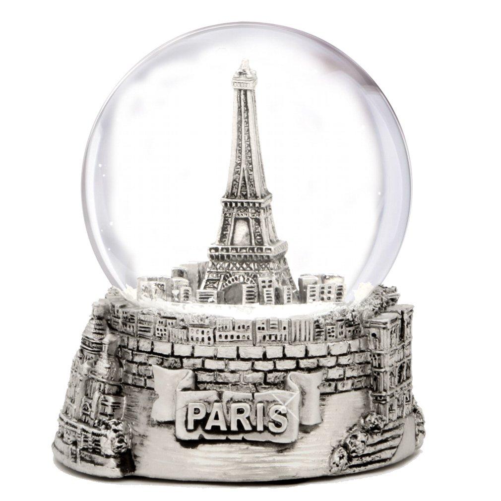 Silver Paris Snow Globe, Eiffel Tower Snow Globe Souvenir, Exclusive (3.5 Inches Tall) Paris Snow Globes Collection