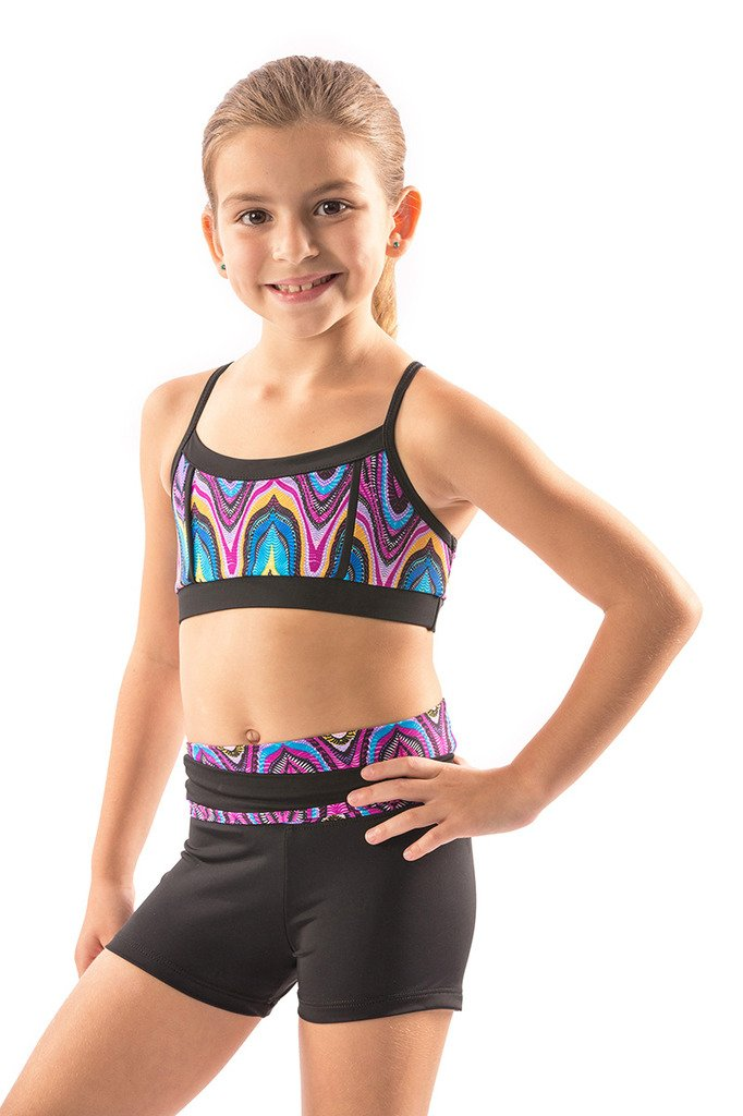 Lizatards Funky Tribal Shorts and Bra Top Set Girls 6/7 by Lizatards