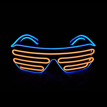 3 X Paia di LAMPEGGIANTE NEON LED Occhiali Da Sole Rosa Blu Rosso EDM Rave LIGHT UP