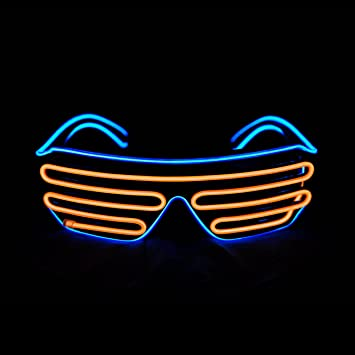 1e9ffb55be Aquat Light Up Neon Shutter Glasses LED Electroluminescent EL Wire Costumes  Eyeglasses For Party RB03 (Blue + Orange)  Amazon.co.uk  Garden   Outdoors