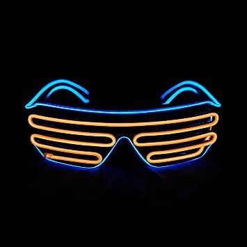 Amazon.com: Aquat Light Up Shutter Neon Rave Glasses El Wire LED ...