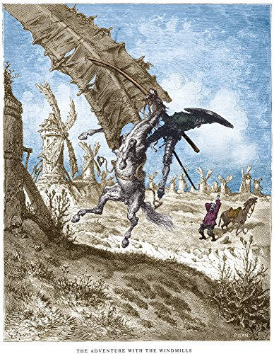 Dor Don Quixote Nthe Adventure With The Windmills Wood Engraving After Gustave Dor Poster Print by (18 x 24)