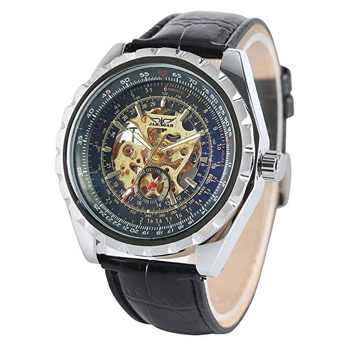 Jaragar - Reloj de Pulsera para Hombre, automático, mecánico, de Cristal, para Hombres y Mujeres, Correa de Piel de Lujo: Amazon.es: Relojes