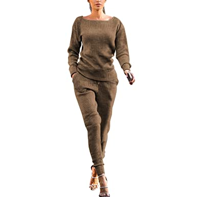 Chándal para Mujer, 2 Piezas, de Punto, Manga Larga, suéter y ...
