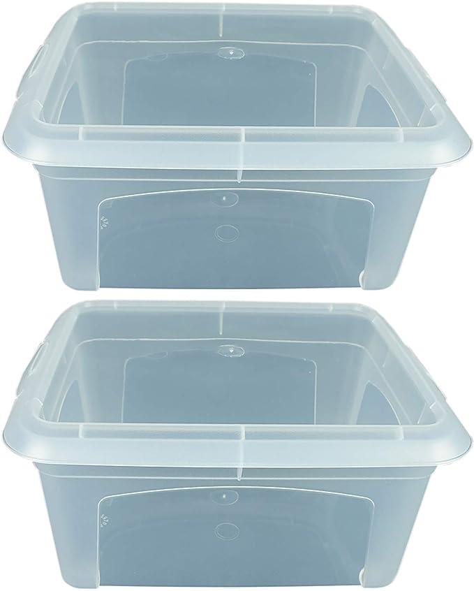 Novaliv - Caja de almacenaje Transparente con Tapa, apilable, Caja ...