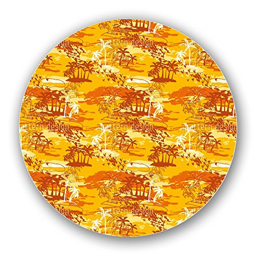 Uneekee Paradise Island Yellow Lazy Susan: Large, Dark Wooden Turntable Kitchen Storage by uneekee