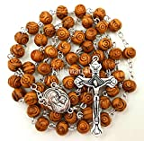 BLESSED CATHOLIC ROSARY NECKLACE Olive Wood Carved Beads With Jerusalem Soil & Cross Crucifix in Gift Box