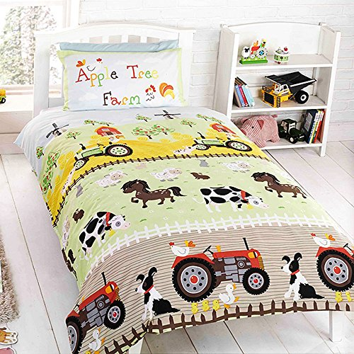Apple Tree Farm - Apple Tree Childrens/Kids Farm Design Single/Twin Duvet Set (Twin) (Multicolored)