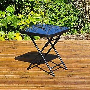 Kingfisher FSDT Folding Drinks Side Garden Patio Table – Black