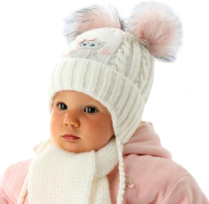 AJS Baby Mädchen Kinder Set Wintermütze Strickmütze Bommelmütze Halstuch Wolle