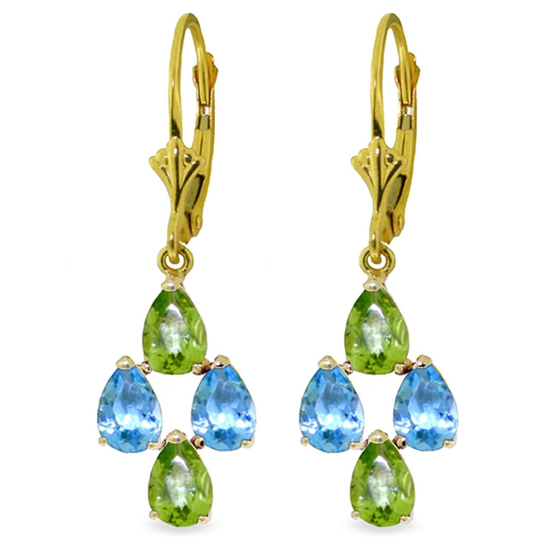 ALARRI 4.5 Carat 14K Solid Gold First Love Blue Topaz Peridot Earrings