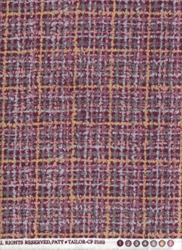 Plum Tweed Woolie Plaid Print Flannel Fabric ~ Tailor Made Timeless Treasures Flannel Fabric ~ HALF YARD !! ~ PATT# TAILOR-CF2569 ~ Luxurious, Heavy Wooly Flannel Quilt Fabric ~ 100% Cotton 45