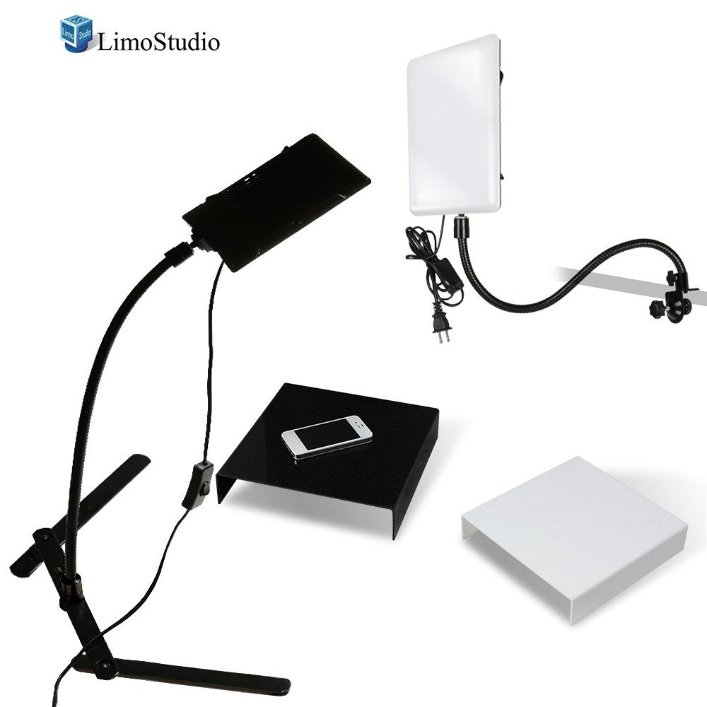 LimoStudio 2 Packs of LED Light Panel with Gooseneck Extionsion Adapter and Mini Table Top Light Stand, Black and White Photo Background Table, Photo Video Lighting Kit, Photo Studio, AGG2209