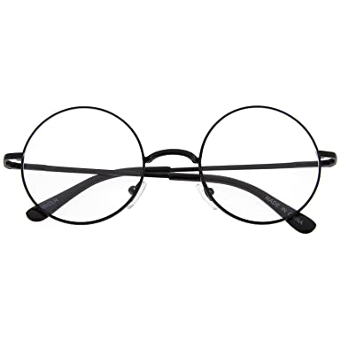 460d2bcce24a1 John Lennon Inspired Round Clear Lens Glasses Hippy Sunglasses Vintage  Slver  Amazon.co.uk  Clothing