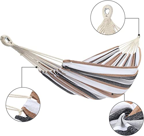 N A Polyester Cotton Outdoor Hammock, 78.7 x 59.1 Lx W, Portable Hammock with Carrying Bag for Patio Yard Garden US Stock Coffee