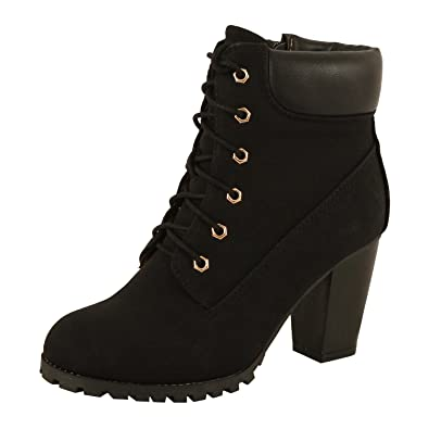 Womens Platform Lace up Ankle Bootie - Chunky Block Heel Combat Winter Mid Calf Boots