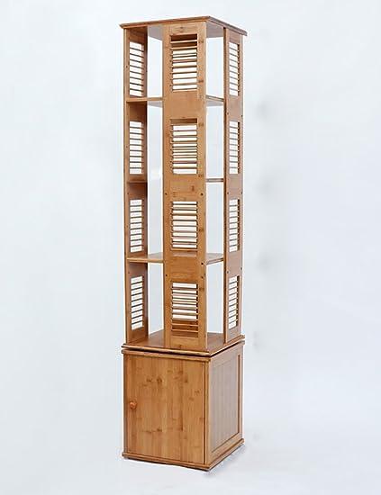 Bookshelf Bookcase Solid Wood With The Door Shelf Simple Bamboo Lockers Creative Rotate Display Storage