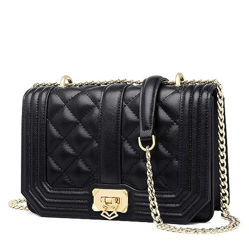 daaac1596d FOXER Women Leather Crossbody Bag Small Handbag Purse Quilted Chain Flap Bag  (Black)