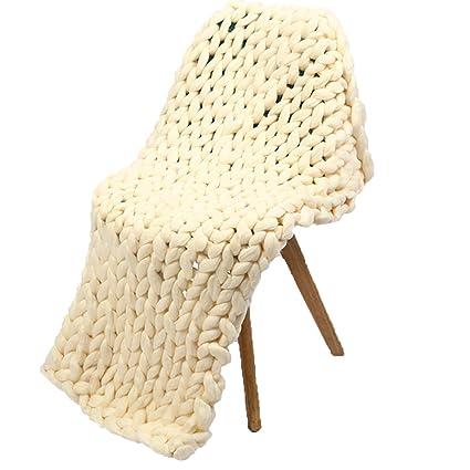 Amazon Cream Chunky Knit Blanket40x40inch Handmade Knit Amazing Cream Chunky Throw Blanket
