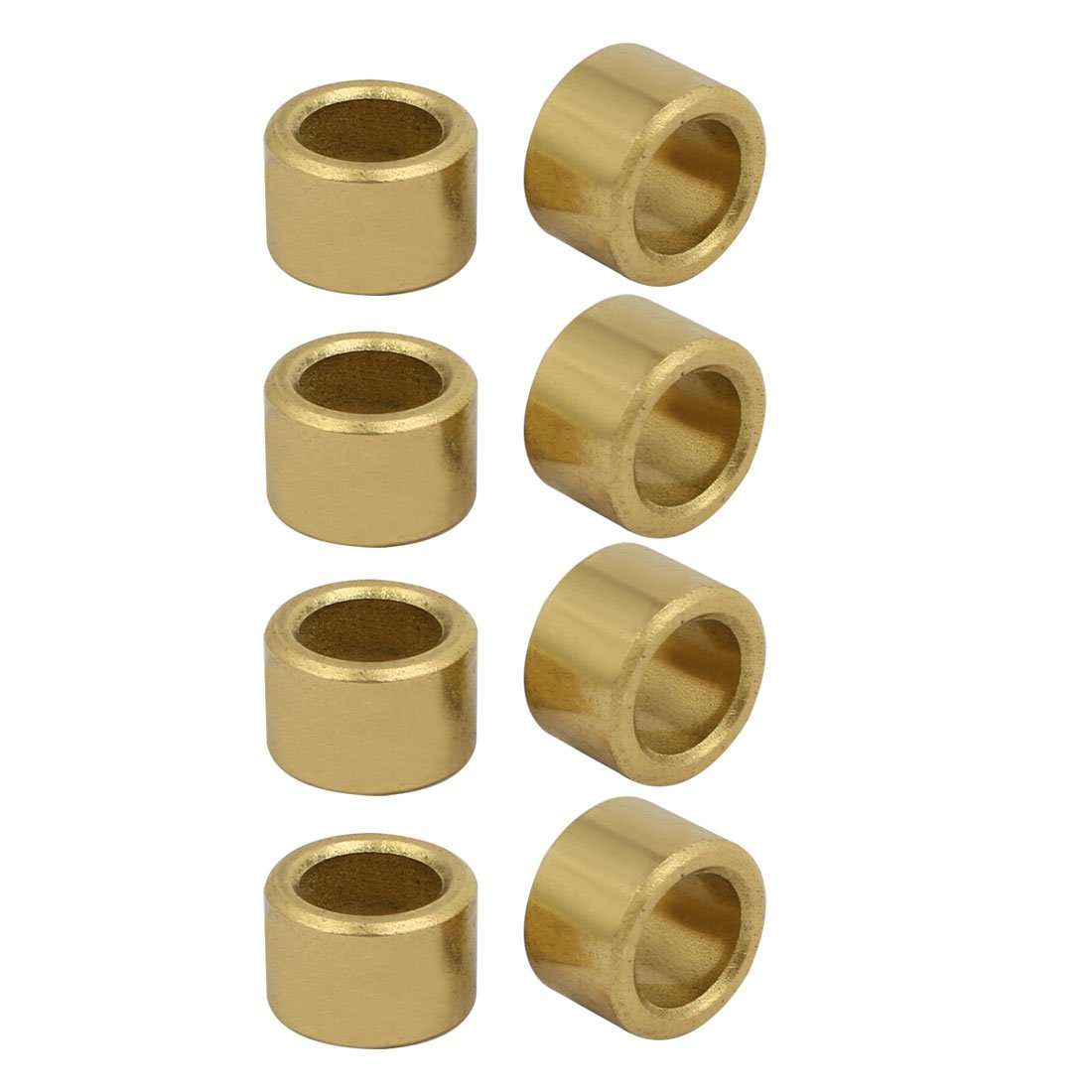 Sourcingmap 8mmx12mmx8mm Powdered Metal Bronze Sleeve Bearing Bushing Gold Tone 8pcs