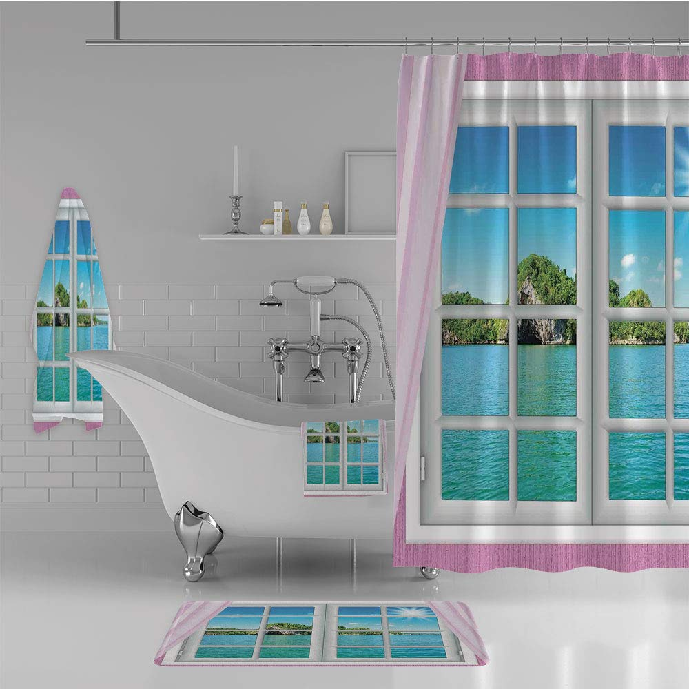 Bathroom 4 Piece Set Shower Curtain Floor mat Bath Towel 3D Print,Window on Island in Sunny Summer Day Peace Relax,Fashion Personality Customization adds Color to Your Bathroom.