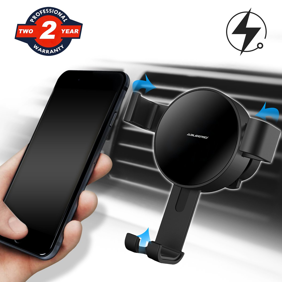 Wireless Car Charger, ABLEGRID Gravity Auto Lock Fast Charging Car Wireless Charger Car Mount For iPhone X/8/8 Plus, Samsung Galaxy NoteS9 8/S 8/S 8+/S 7/S 6 Edge+/Note 5 and Most Qi Enable Devices