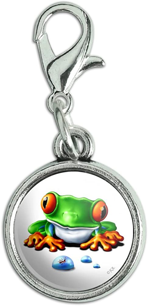 GRAPHICS & MORE Rainforest Red Eyed Tree Frog and Ant Antiqued Bracelet Pendant Zipper Pull Charm with Lobster Clasp