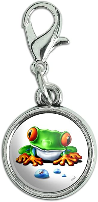 Antiqued Bracelet Pendant Oval Charm with Lobster Clasp Red Eyed Tree Frog