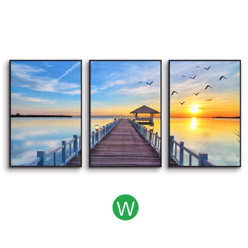Jjek K Photo Frame Photo Wall Decoration Painting Easel Photo Wall 3pcs, Simple Lake Weather Landscape Painting Living Room Sofa Background Decorative Wall 27.6 35.4in